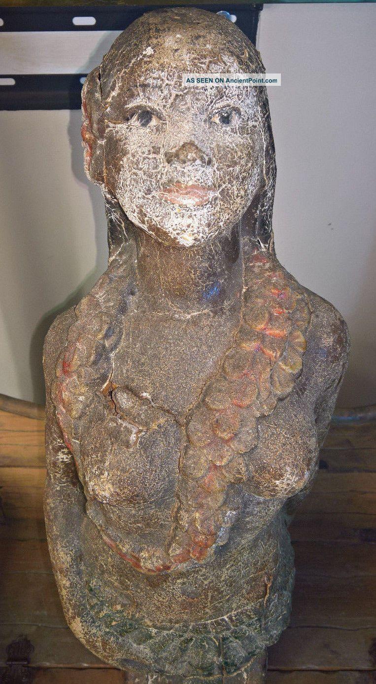 Beauitiful Antique Carved Wood Figurehead Wax Nautical Maritime Mermaid Folk Art Folk Art photo