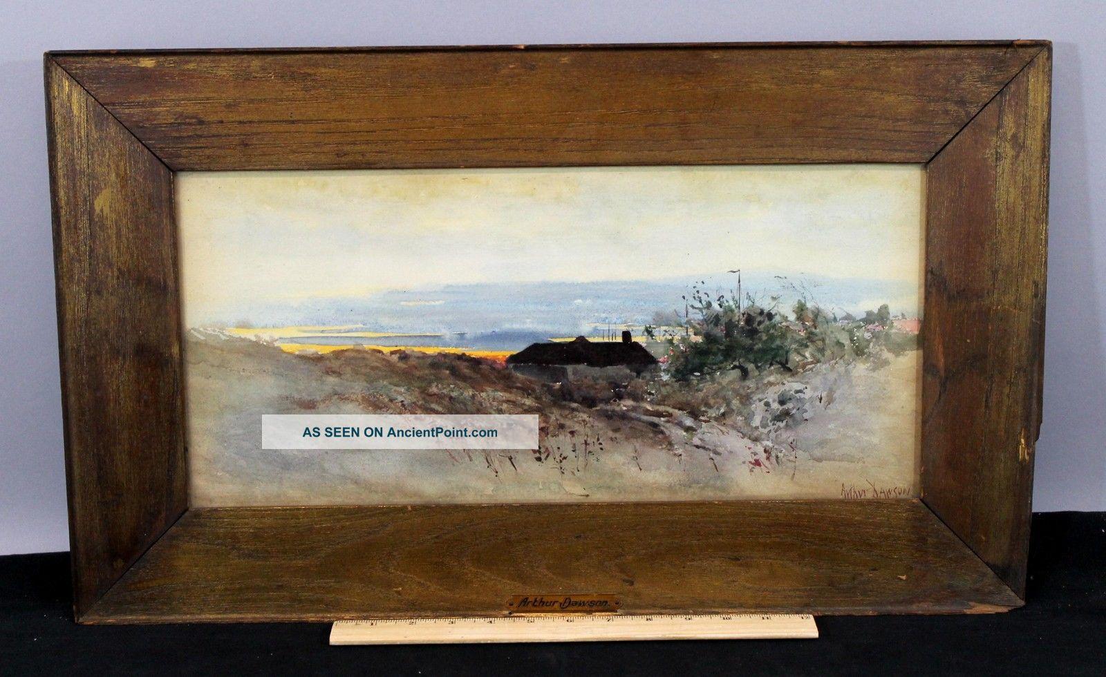 C1900 Antique Arthur Dawson Sunset Coastal Landscape Watercolor Painting Nr Other Maritime Antiques photo