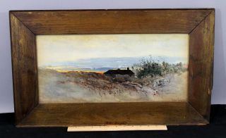 C1900 Antique Arthur Dawson Sunset Coastal Landscape Watercolor Painting Nr photo