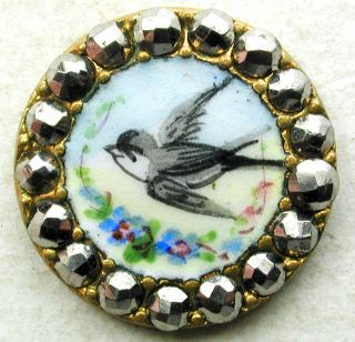 Antique French Enamel Button Flying Bird Pictorial W/ Cut Steel Border - 5/8