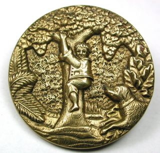 Lg Sz Antique Brass Button Detailed Dog Chases Boy Up A Tree - 1 & 5/16