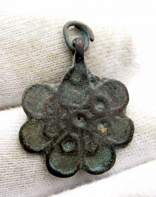 Roman Bronze Floral Pendant - Rare Ancient Stunning Wearable Artifact - C772 photo