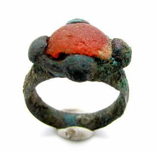 Saxon Era Ring W/ Orange Stone & Cross Bezel - Rare Ancient Wearable - C750 photo