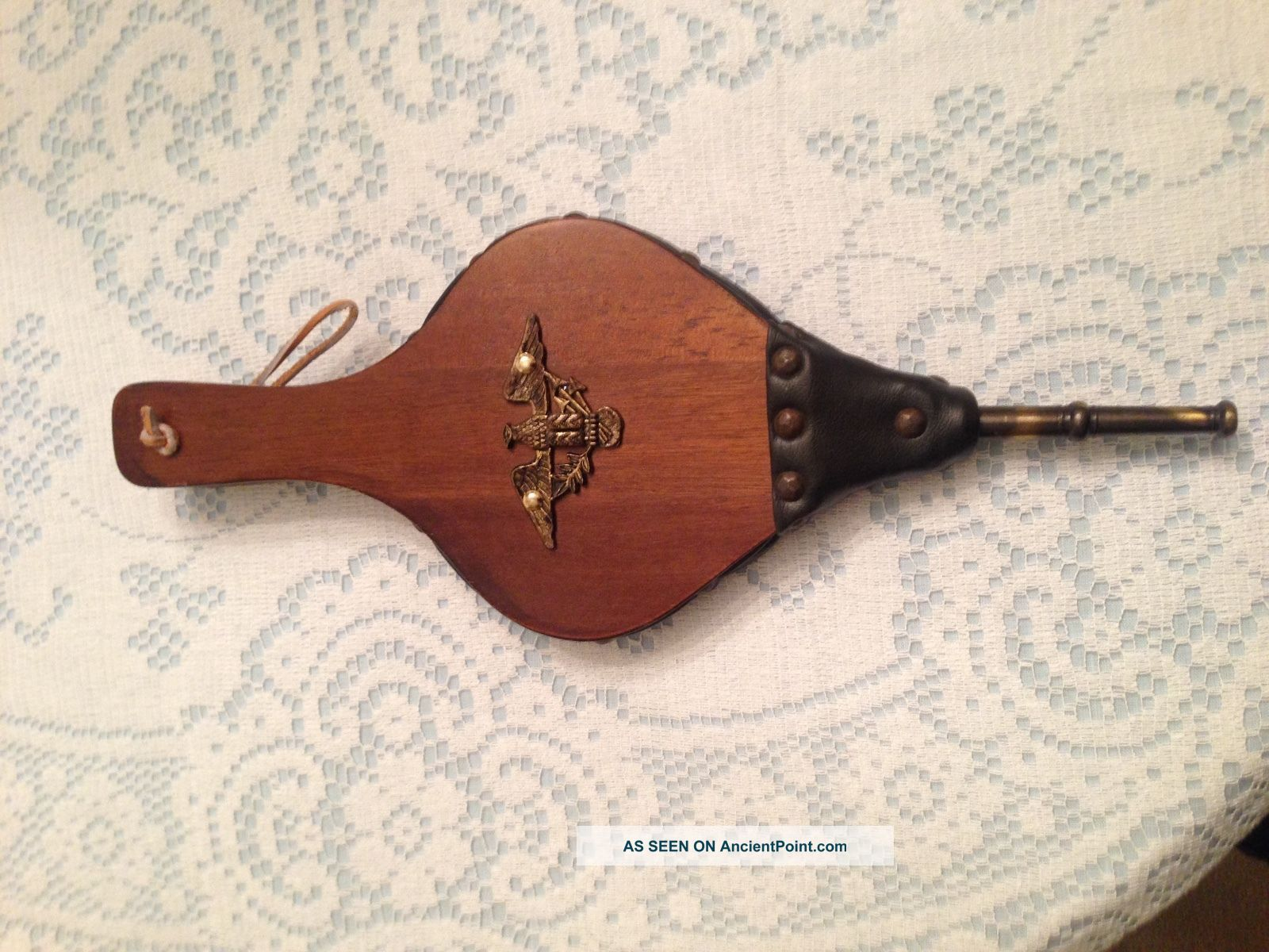 Vintage Fireplace Bellows W/eagle Crest Hearth Woodstove Tool Wood & Leather Hearth Ware photo