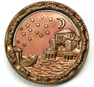 Antique Copper Tint Brass Button Detailed Night Time Venetian Scene 1 & 3/16