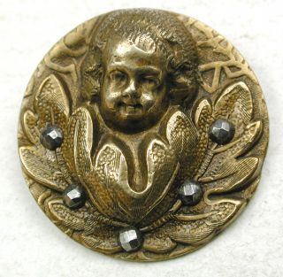 Antique Brass Button Balloon Child ' S Face In Flower W/ Cut Steel Accents 1
