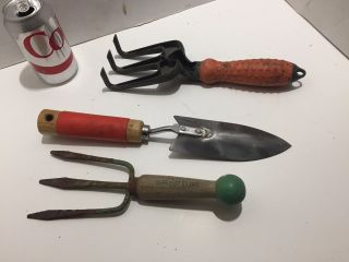 3 Vintage Hand Claw,  Shovel & Fork Garden Tools photo