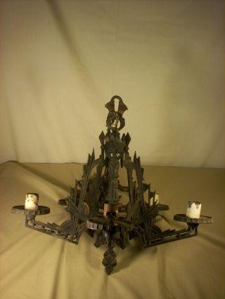 Vintage Art Deco Gothic Chandelier Antique 5 Bulb Light Fixture For Restoration photo