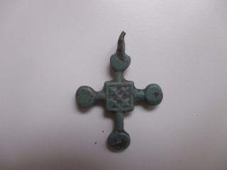 Ancient Viking Bronze Cross Pendant Kievan Rus. photo
