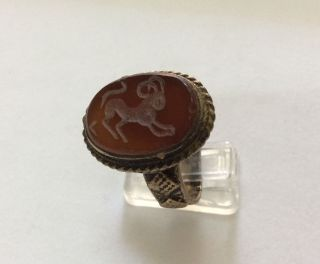 Men Engraved Agate Rings Vintage Animal Afghan Near Eastern Islamic Bronze 10 6 photo