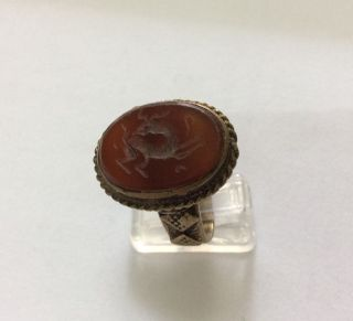 Men Engraved Agate Rings Aqiq Animal Aqeeq Near Eastern Islamic Bronze عقيق 10 photo