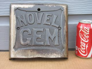 Vintage 1925 Novel Gem Stove Door Name Plate Emblem Cast Iron Nobby & Novel photo