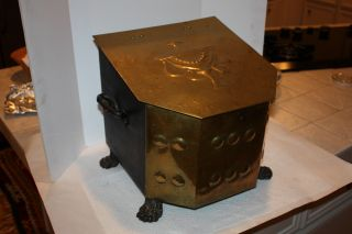Antique Brass Cast Iron Coal Scuttle Box 13x13.  5x13 Ash Can Fireplace Hearthware photo