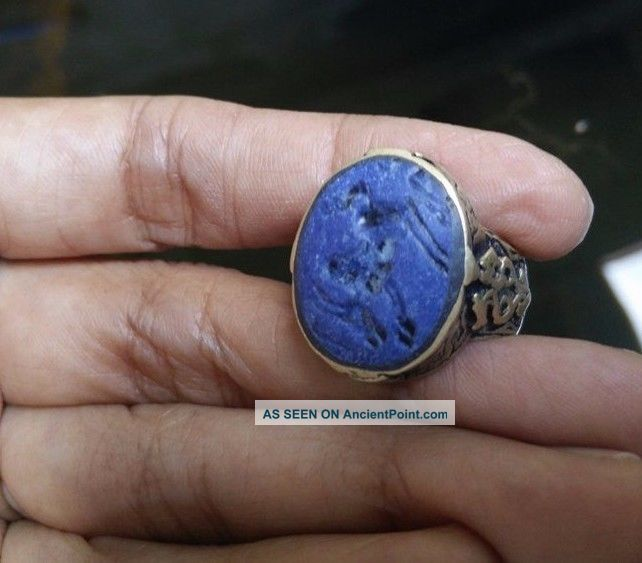 Old Agate Stone Intaglio Ring Animal Muslim Arab Isalam Wonderful Size 9 Us Near Eastern photo