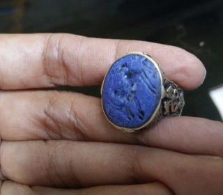 Old Agate Stone Intaglio Ring Animal Muslim Arab Isalam Wonderful Size 9 Us photo