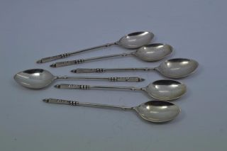6 Revolutionary Russian ? Sterling Silver Spoons 14.  5 Cm Long Unmarked 88 Gr photo