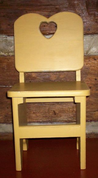 Antique Vintage Child ' S Wooden Chair Handmade Painted Vintage Gold From Estate photo