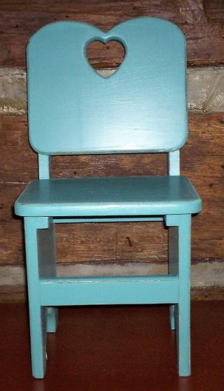 Antique Vintage Child ' S Wooden Chair Handmade Painted Vintage Teal From Estate photo