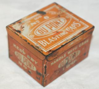 Vintage Du Pont 100 No.  6 Blasting Caps Tin photo