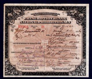 Prohibition Prescription Whiskey Alcohol Old 3/24/26 Mchugh Pharmacy Doctor Bar photo