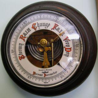 Vintage Aneroid Wall Barometer Ship Portal Style England Tycos Short & Mason photo