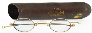 Antique Eyewear,  14k Gold Spectacles W/oval Blue Tinted Lenses Signed J.  Diamond photo