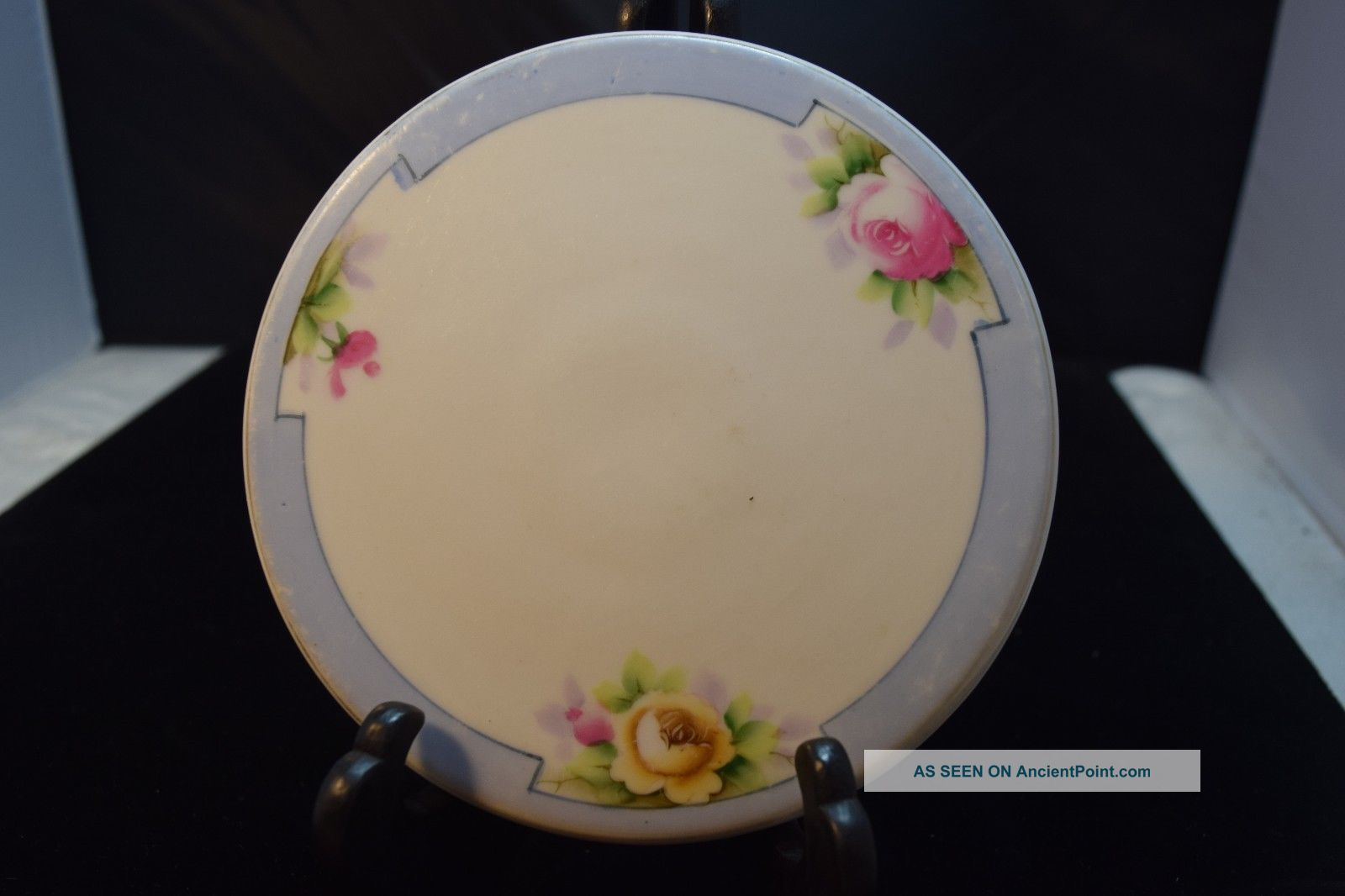 Nippon Tea Tile/trivet - Pink & Yellow Flowers Blue Trim Blue Rising Sun Nippon Trivets photo