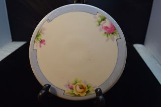 Nippon Tea Tile/trivet - Pink & Yellow Flowers Blue Trim Blue Rising Sun Nippon photo