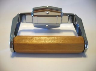 Vintage Autoyre Fairfield 25 Chrome Toilet Paper Tissue Holder Wooden Roller photo