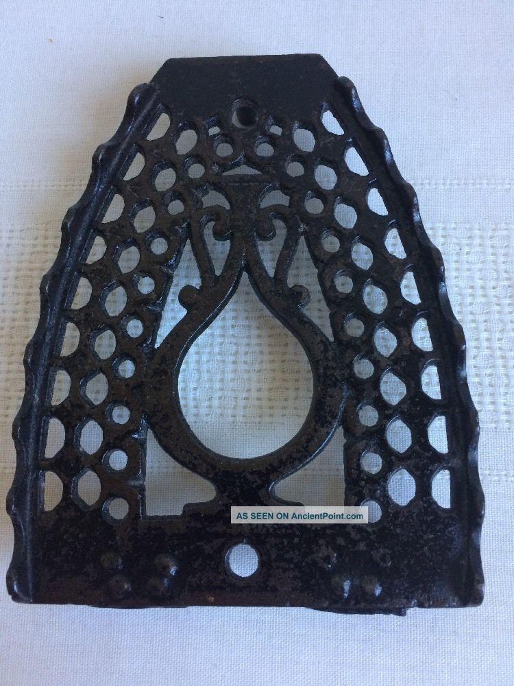 Antique Bless & Drake Cast Iron Oil Jar Sad Iron Trivet Trivets photo