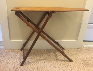 Antique 1920 ' S Michigan Made Child ' S Folding Ironing Board,  All Wood,  Stamped photo