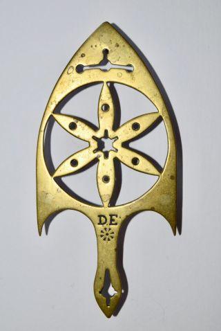 Antique Pennsylvania Dutch Brass Trivet Initials