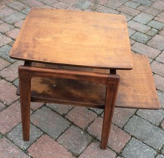 Wooden Mid Century End Side Table Floating Top Tiered Retro Vintage photo