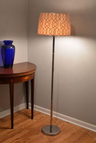 Walter Von Nessen Double Socket Light Chrome Floor Lamp 58