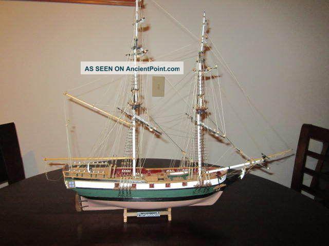 Vintage Scaled Handmade Wood Model Sailing Sloop Ship Uss Portsmouth Detailed Model Ships photo