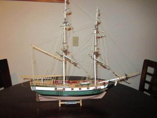 Vintage Scaled Handmade Wood Model Sailing Sloop Ship Uss Portsmouth Detailed photo