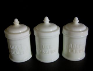 3 Antique Whitall Tatum Co Apothecary Jars Chemical Milk Glass Pharmacy Bottle photo
