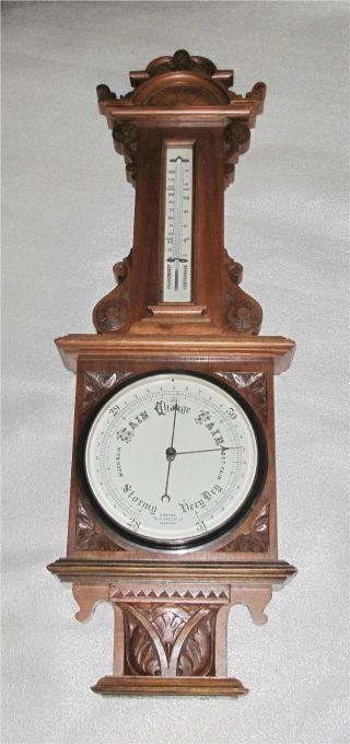 Antique Scottish Banjo Wheel Barometer Thermometer Walnut,  Glasgow photo