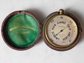 Antique Cased Negretti & Zambra Pocket Barometer photo