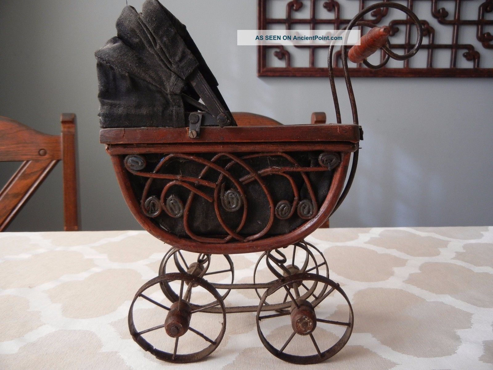 Vintage Antique Doll Baby Carriage Wood,  Wicker & Metal Baby Carriages & Buggies photo