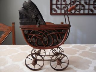 Vintage Antique Doll Baby Carriage Wood,  Wicker & Metal photo