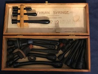 Antique 1897 Vaginal Pipes Tyrian Syringe No 19 W Box photo