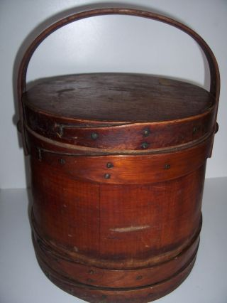 Antique Primitive Shaker Banded Firkin With Lid Early Sugar Bucket photo