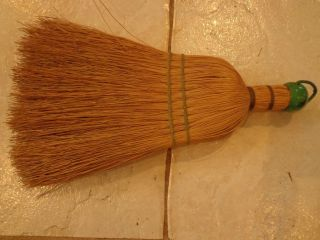 Vintage Large Primitive Farmhouse Straw Hand Held Whisk Broom With Metal Hanger photo