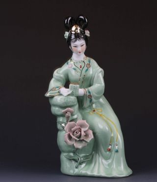 Chinese The Color Porcelain Handwork Carved Gril Statues photo