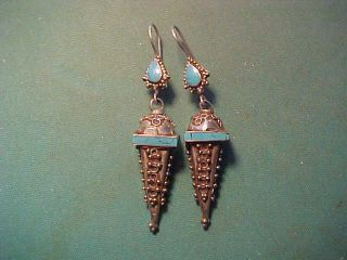 Near Eastern Hand Crafted Silver Earrings Turquoise Stones photo