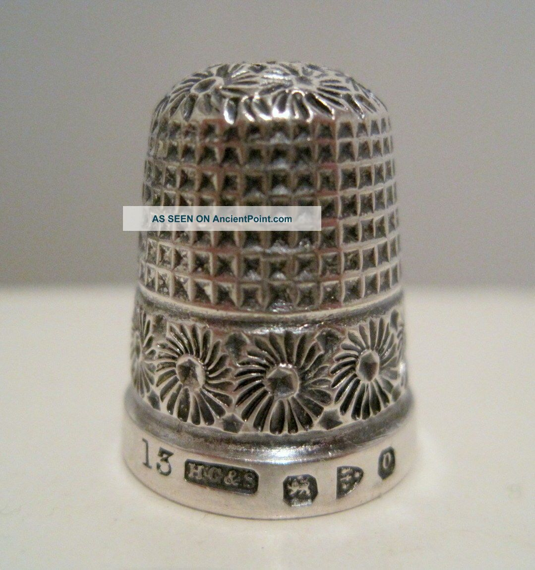 Fancy Henry Griffith 13 Antique Sterling Silver Thimble Hallmarked Chester 1897 Thimbles photo