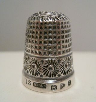 Fancy Henry Griffith 13 Antique Sterling Silver Thimble Hallmarked Chester 1897 photo