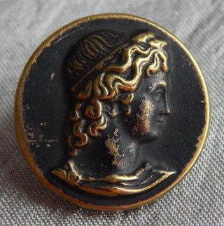Antique Vintage Picture Button Greek God 1238 - A photo