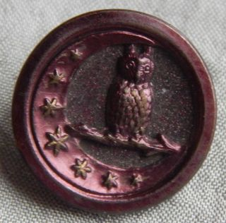 Vintage Tinted Purple Brass Picture Button Owl Moon Stars 1000 - A photo